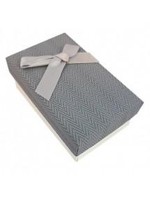 Cutie cadou set bijuterii tweed gri 8x5x3cm