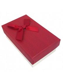 Cutie cadou set bijuterii tweed rosu 8x5x3cm