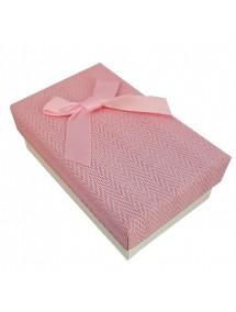 Cutie cadou set bijuterii tweed roz 8x5x3cm