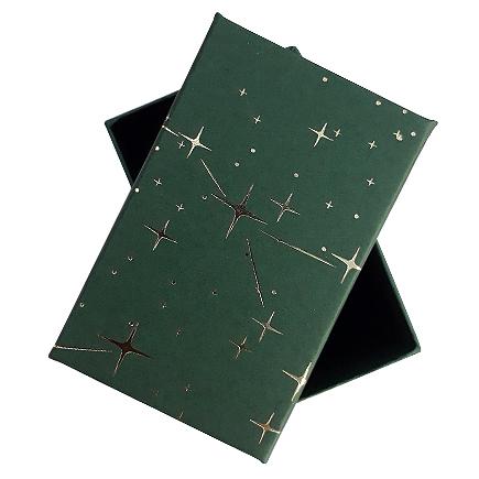 Cutie cadou set bijuterii verde stelute aurii 8x5x2.5cm