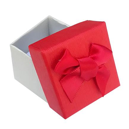 Cutie cadou set cercei inel bicolor gri rosu 4x4x3.5cm