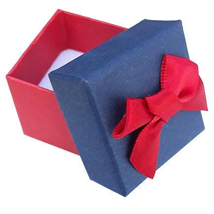 Cutie cadou set cercei inel bicolor rosu albastru 4x4x3.5cm