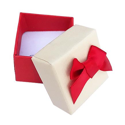Cutie cadou set cercei inel bicolor rosu ivoire 4x4x3.5cm