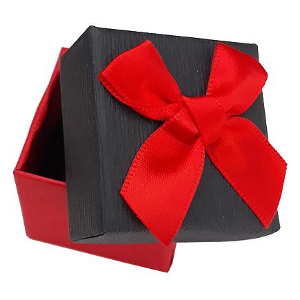Cutie cadou set cercei inel bicolor rosu negru funda satin 4x4x3.5cm
