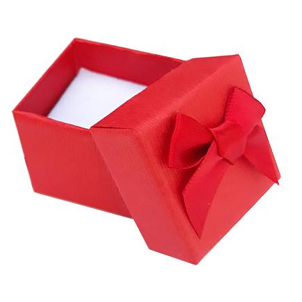 Cutie cadou set cercei inel rosu 4x4x3.5cm