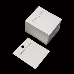Etichete carton alb drepte expunere cercei 6x5cm 100buc