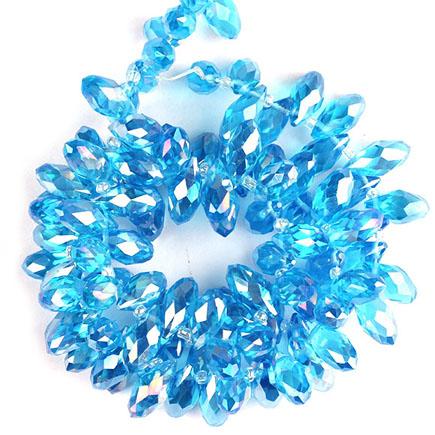Cristale briolette bleu azur efect AB 13x6mm