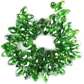 Cristale briolette verde crud efect AB 13x6mm
