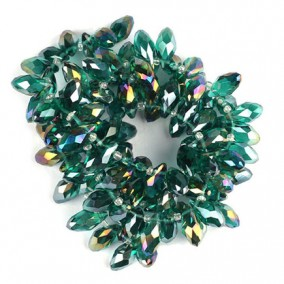 Cristale briolette verde smarald efect AB 13x6mm