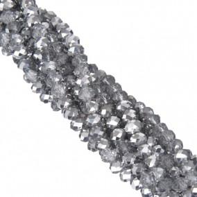 Margele cristale sticla disc alb argintiu 10x8mm sirag 58cm