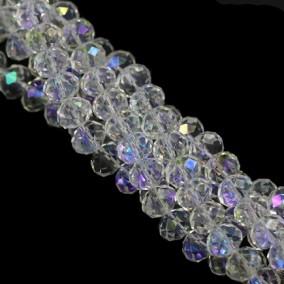 Margele cristale sticla disc alb efect AB 10x8mm sirag 58cm