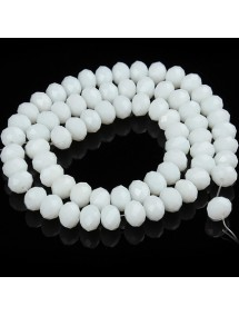 Margele cristale sticla disc alb opac 10x8mm sirag 58cm