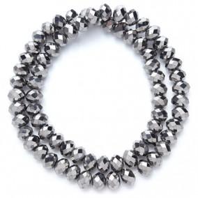 Margele cristale sticla disc argintiu metalizat 10x8mm sirag 58cm
