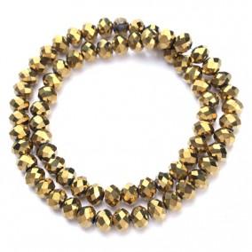 Margele cristale sticla disc auriu metalizat 10x8mm sirag 58cm