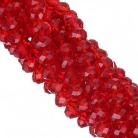 Margele cristale sticla disc rosu 10x8mm sirag 58cm
