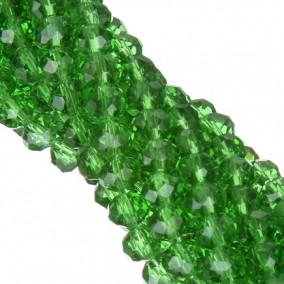 Margele cristale sticla disc verde crud 10x8mm sirag 58cm