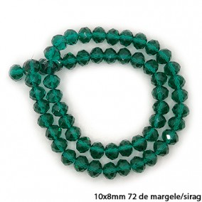 Margele cristale sticla disc verde smarald 10x8mm sirag 58cm
