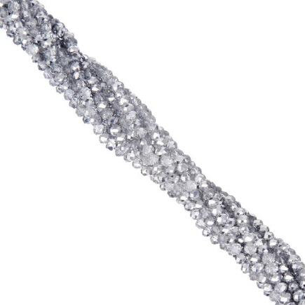 Margele cristale sticla disc argintiu metalizat 4x3mm sirag 45cm