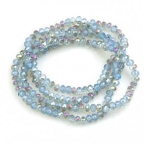 Margele cristale sticla disc bicolor bleu efect AB 4x3mm sirag 45cm