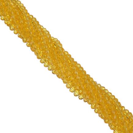 Margele cristale sticla disc galben citrin inchis 4x3mm sirag 30cm