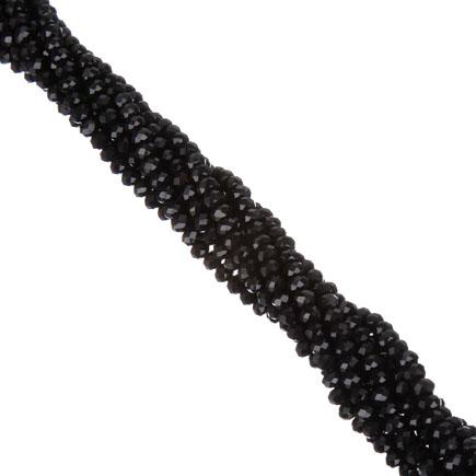 Margele cristale sticla disc negru 4x3mm sirag 45cm