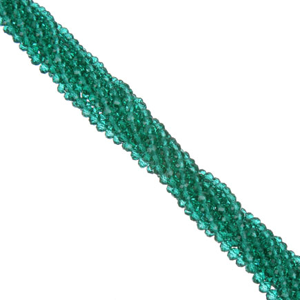 Margele cristale sticla disc verde smarald 4x3mm sirag 45cm