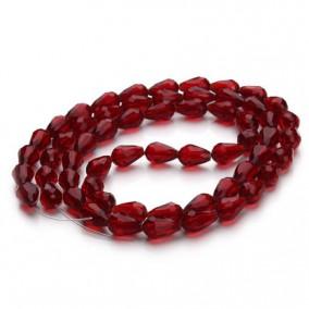 Margele cristale sticla lacrima rosu rubin 12x8mm sirag 68cm