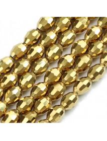 Margele cristale sticla oval auriu metalizat 10x8mm