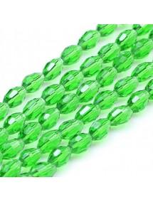 Margele cristale sticla oval verde crud 10x8mm