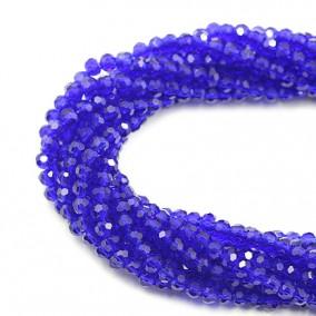 Margele cristale sticla sferice albastru 4mm sirag 38cm