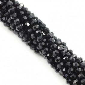 Margele cristale sticla sferice negru 4mm sirag 38cm