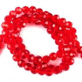 Margele cristale sticla sferice rosu 4mm sirag 38cm