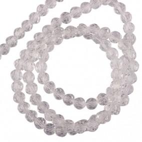Margele cristale sticla sferice alb transparent 6mm sirag 30cm