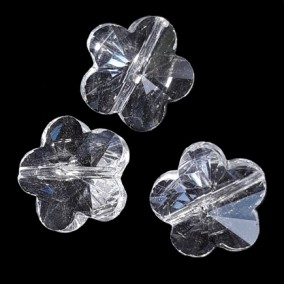 Margele de sticla cristal floare alb transparent 13x8mm