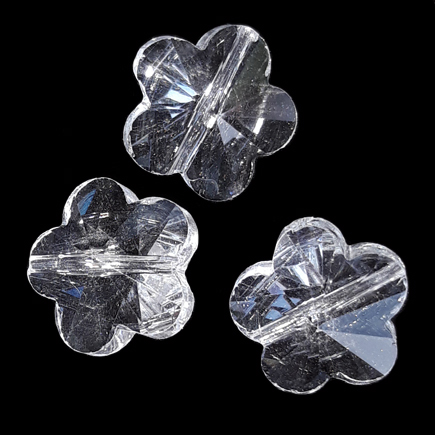 Margele de sticla cristal floare alb transparent 13x8mm