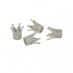 Margele micropave coroana argintie rhinestone alb 12x7mm