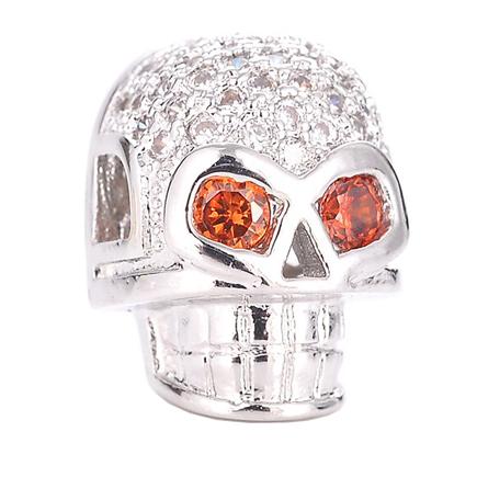 Margele micropave craniu argintiu 13x10mm