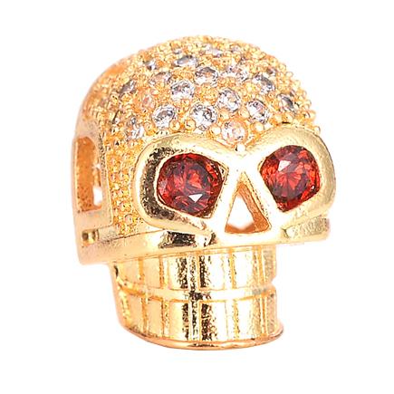 Margele micropave craniu auriu roscat 13x10mm
