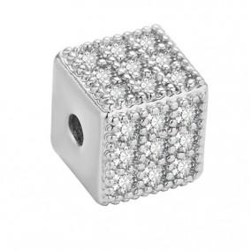 Margele micropave cub argintiu rhinestone alb 6mm