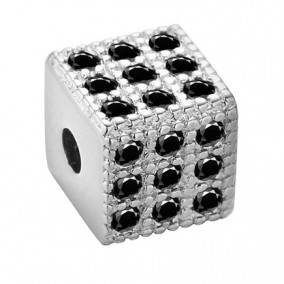 Margele micropave cub argintiu rhinestone negru 6mm