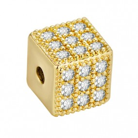 Margele micropave cub auriu rhinestone alb 6mm