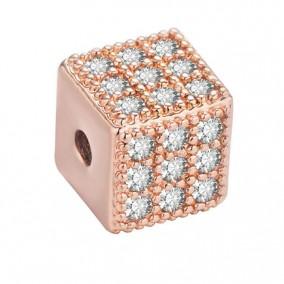 Margele micropave cub auriu roscat rhinestone alb 6mm