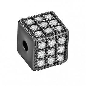 Margele micropave cub negru rhinestone alb 6mm