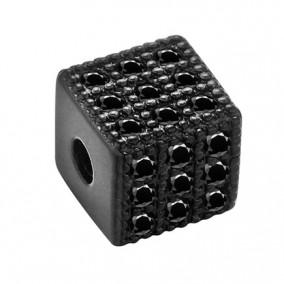 Margele micropave cub negru rhinestone negru 6mm