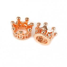Margele micropave distantiere coroana auriu roscat 8x8mm