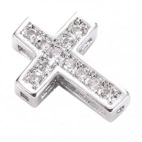 Margele micropave distantiere cruce argintie rhinestone alb 13x10mm