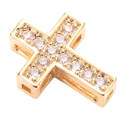 Margele micropave distantiere cruce aurie rhinestone alb 13x10mm