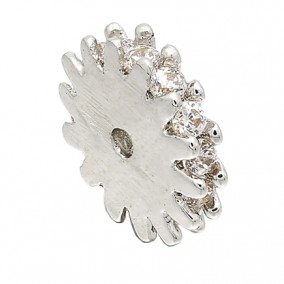 Margele micropave distantiere rotunde argintii rhinestone alb 8x2mm