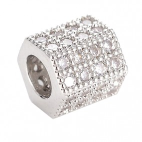 Margele micropave hexagon argintiu rhinestone alb 7x7mm