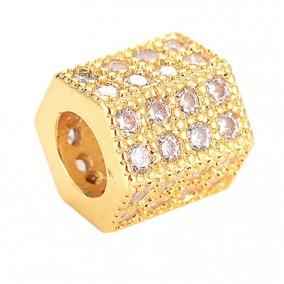 Margele micropave hexagon auriu rhinestone alb 7x7mm